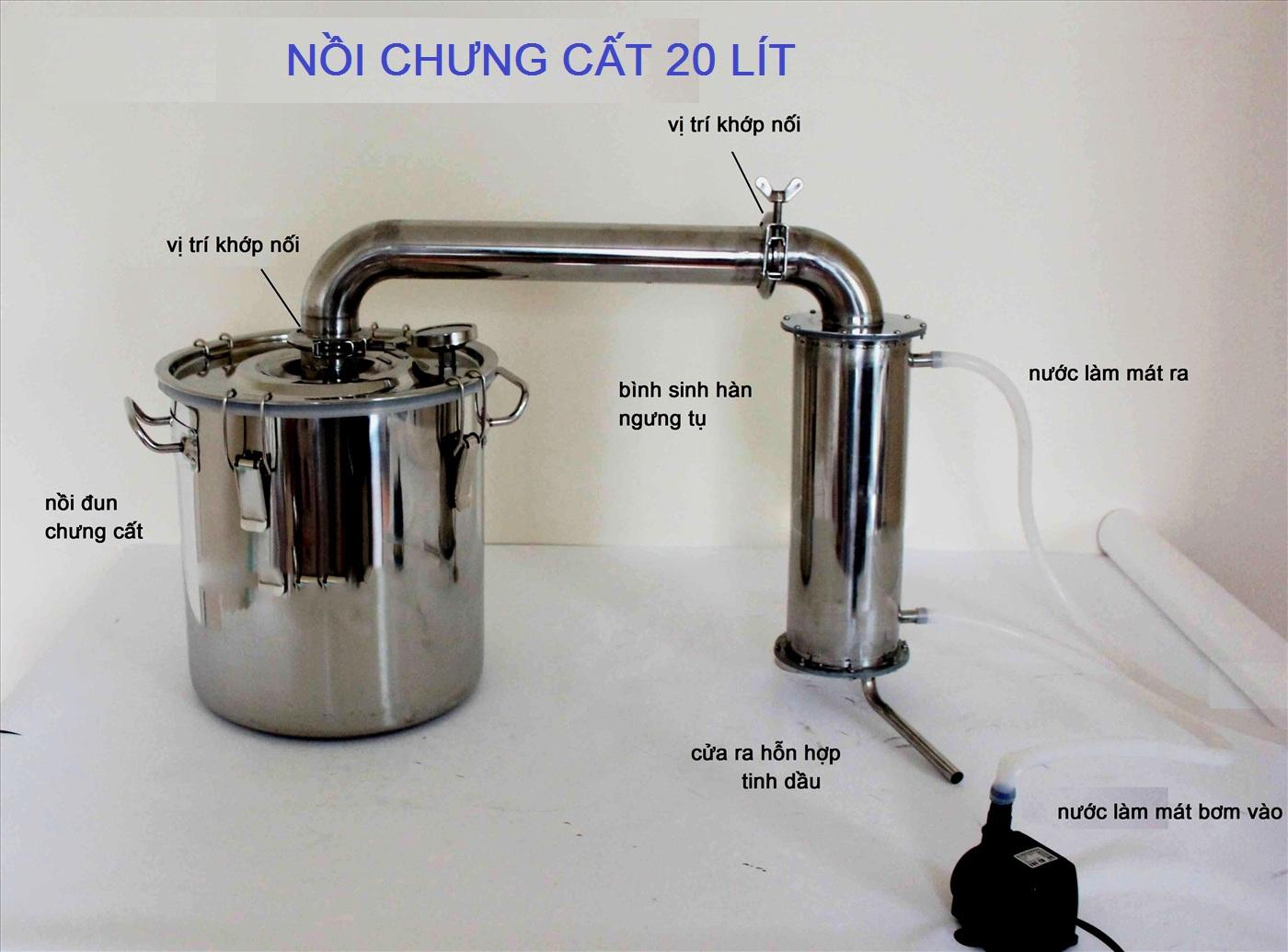Bộ chưng cất tinh dầu bằng hơi nước SK-307-8L (Đài Loan)0
