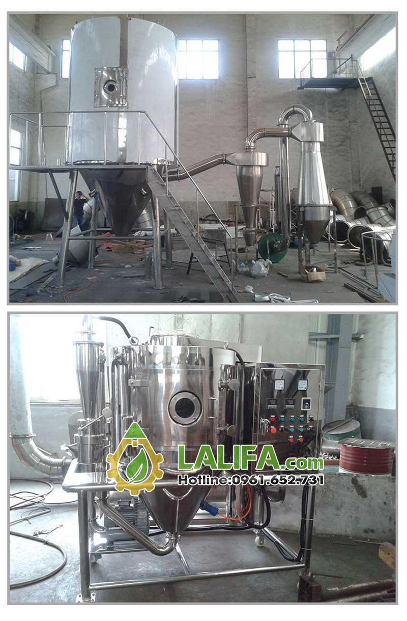 Còn đây là một chiếc máy cực lớn sản xuất một ngày hàng 100kg tinh bột sấy phun dang được hoàn thiện tại xưởng sản xuất